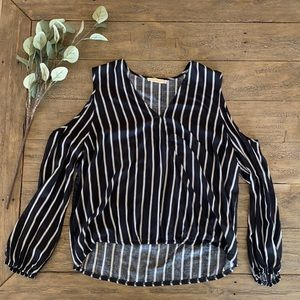 Miss Love Shoulder Cut-Out Striped Top